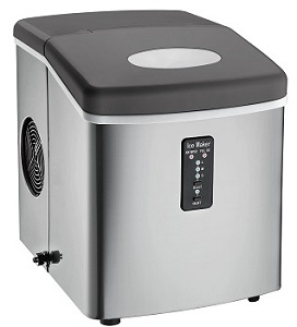 Stainless Steel Ice Maker, Igloo ICE103 Portable Countertop Freestanding Icemaker with Over-Sized Ice Bucket, Stainless Steel.