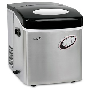 Ivation 48 lb. daily Capacity Counter Top Ice Maker, Stainless Steel, 3 cube sizes.