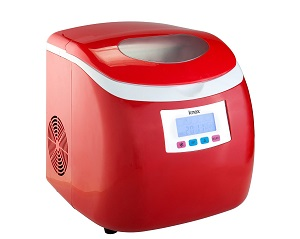 Knox Table Top Red Portable Compact Ice Cube Machine Maker for Bar, Home, RV, Camping.